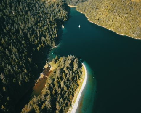 Areal view of Prince William Sound's private bays