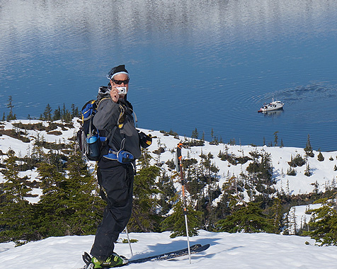 Mountain top photo opportunity backcountry skiing in Prince William Sound
