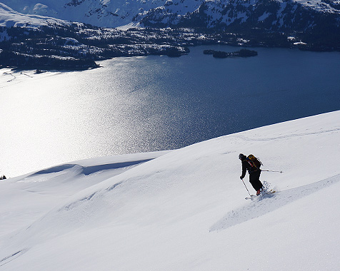 Back country skiing on an Alaska boat trip