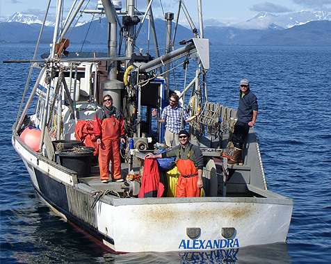 The Alexandra and crew in the Prince William Sound