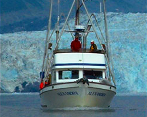 Image of Babkin Alaska charter boats - The Alexandra motoring through Prince William Sound